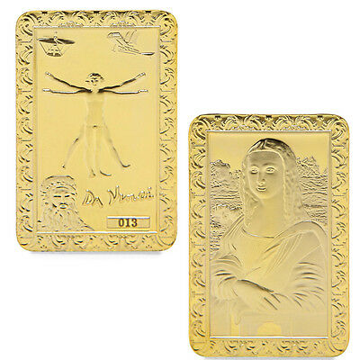 Mona Lisa Golden Commemorative Coins Collection Souvenir Da Vinci Art Bar 2017