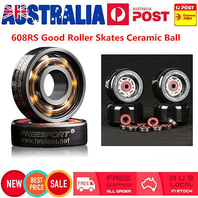 608RS Good Roller Skates Ceramic Ball Inline Skate Bearings Drift Plate AU Stock