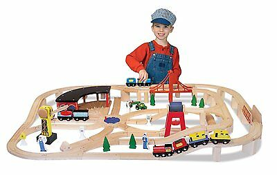 Kids Wooden Toy Railway Train Activity Play Set Large 132 Piece Track Childrens