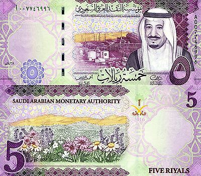 SAUDI ARABIA 5 Riyals Banknote World Paper Money UNC Currency Pick p-NEW 2016