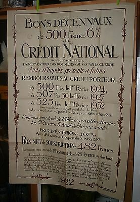 Ancienne AFFICHE 1922 CREDIT NATIONAL