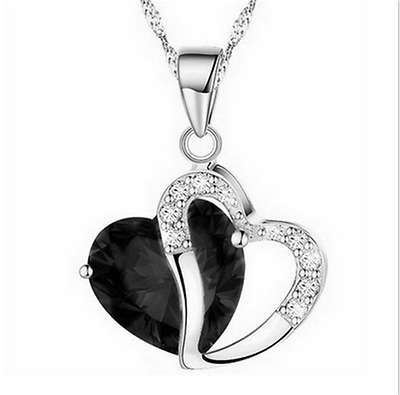 Fashion Women Heart Black  Crystal Rhinestone Silver Chain Pendant Necklace HOT