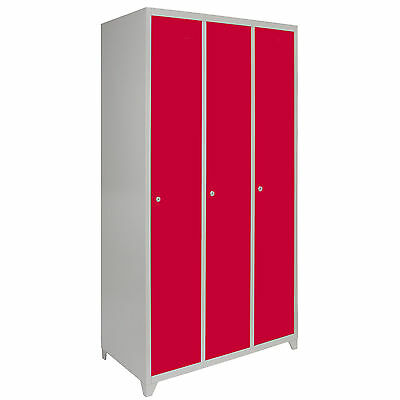 Metal Lockers 3 Doors Steel Staff Storage Lockable Gym Changing Room School Red