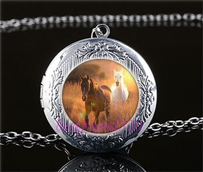 Galloping Wild Horses Cabochon Glass Tibet Silver Locket Pendant Necklace