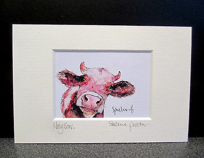 Nosy Cow!  Mini Art print from an original painting by Suzanne Patterson.