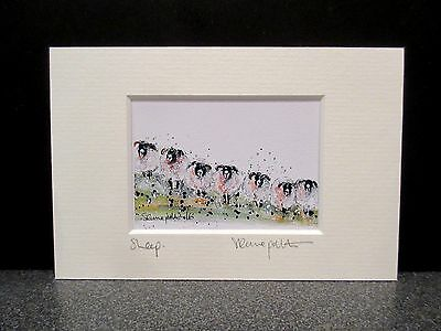 Sheep.  Mini Art print from an original painting by Suzanne Patterson.