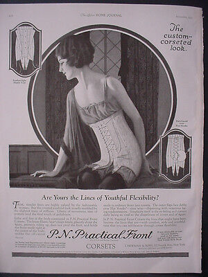 1922 P N Practical Front Corset Rare Full Page Fashion Vintage Print Ad 12064