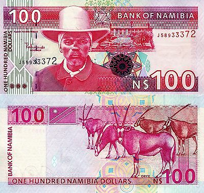 NAMIBIA 100 Dollars Banknote World Paper Money UNC Currency Pick p-9A Oryx
