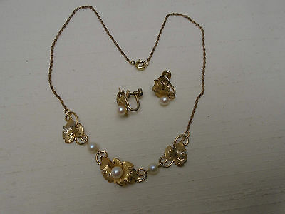 Vintage 50's Gold Filled 12k GF Genuine Pearl Necklace Earring Set Uncas Curtman