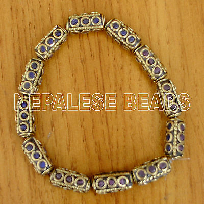 Purple Blue Lapis Rectangle Brass 6 Beads Tibetan Nepalese Tibet Nepal UB2385C