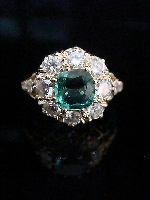 Stunning Edwardian 18Ct Emerald 1.25Ct And Diamond 1.30Ct Cluster Ring