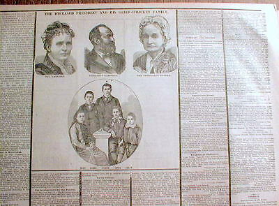 GREAT 1881 display newspaper PRESIDENT JAMES GARFIELD DEAD from ASSASSINATION