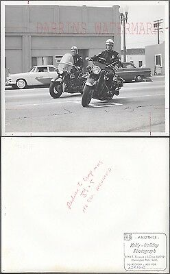 Vintage 1950s Photo Huntington Park Police Harley Davidson Motorcycles 273001