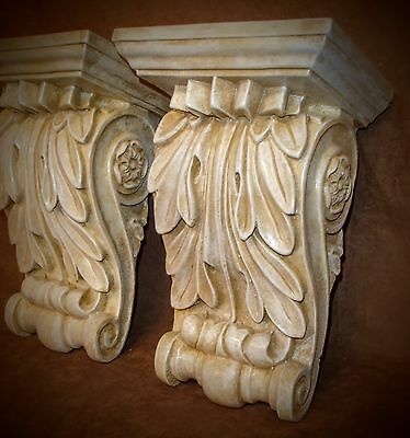 Vintage Classical Leaf Shelf Acanthus leaf Wall Corbel Sconce Bracket Pair