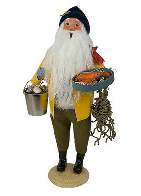 Byers Choice Nautical Santa Claus in Yellow Slicker w/Lobster Signed by J Byers