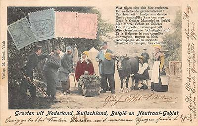 Germany Mail Delivery Stamps Netherlands Belgium Neutraal-Gebiet Postcard 1901