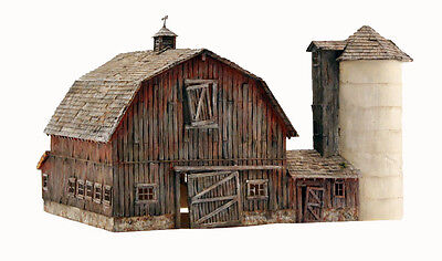 Woodland Scenics BR4932, N Scale, Old Weathered Barn with Silo Built & Ready