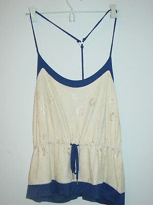 Steve Madden cream lace overlay front blue cami sleep top racerback-L-NWT-$42.