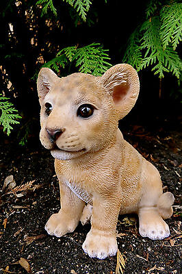 BABY LION FIGURINE  SITTING STATUE 5.75 in. AFRICAN ANIMAL JUNGLE HOME DECOR CUB