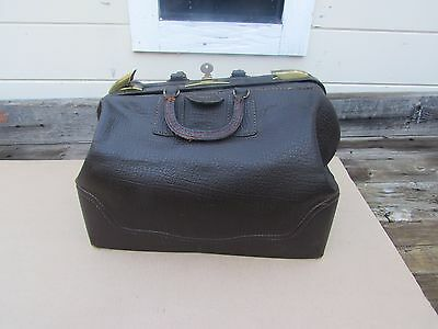 Vintage Doctor Bag Dr Bag VINTAGE Leather Brown Dark  18 x 11  x 12 Tall