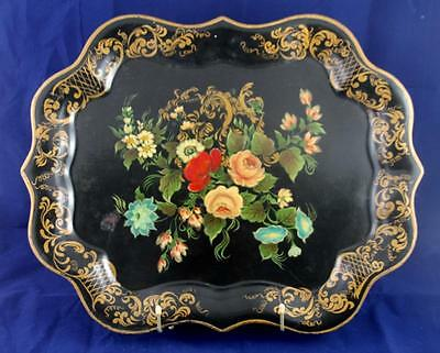 Exquisite Vintage Hand Painted & Signed Tole * Toleware Floral Rose Black Tray