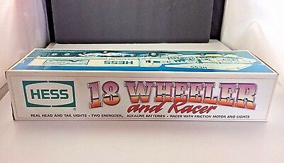 1992 Hess Truck 18 Wheeler and Racer Mint In Original Box Gas/Oil advertising