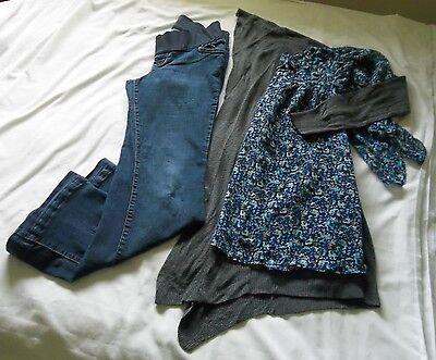 MIXED MATERNITY Lot of 3 Sz 4/SMALL Jeans Blouse & Cardigan ON - LL - ANA