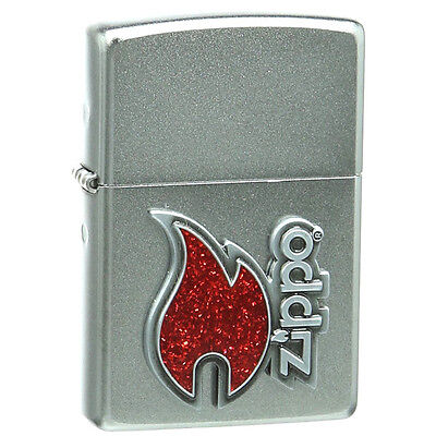 Official Red Flame Satin Chrome Zippo Lighter - Boxed New Glittery Logo