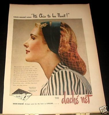 1944 Lilly Dache Fashion Hairnet Chic to be Neat Ad