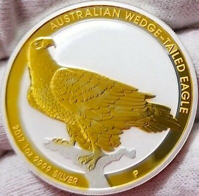 2017 Australia Wedge-Tailed Eagle 24k Gold Gilded  1oz .9999 pure Silver Coin 1