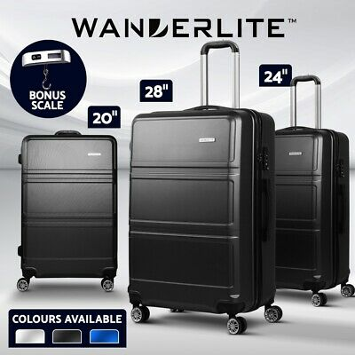 Wanderlite 2pc 3pc Luggage Suitcase Trolley Set TSA Travel Carry Bag Hard Case