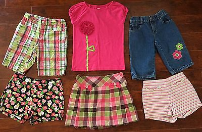 GIRLS SHORTS SKORT Lot SIZE 8 ALL GYMBOREE ADJUSTABLE FLORAL Pink Plaid