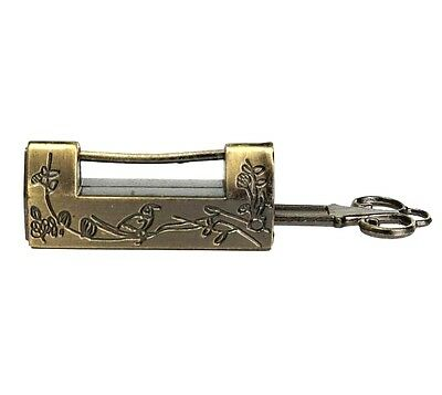 Vintage Retro Excellent Carved Magpie Bird Flower Leaf Padlock Lock & Key Gift