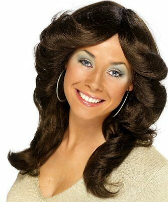 1970s Fancy Dress Charlie Angels Flick 70s Icon Brunette Brown Wig NEW P7370