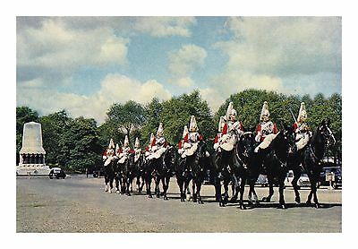 The Queen'S Life Guards Arriving At Horse Guards London J Arthur Dixon Postcard