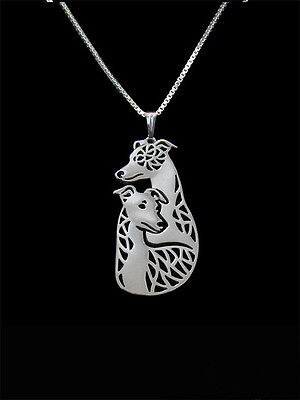 2 Whippet Couple  pendant necklace dog collectible dog pendants N90