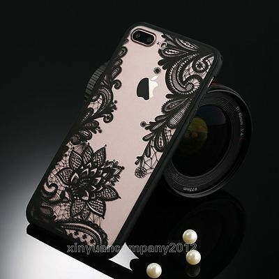 New Transparent Hard Flower Acrylic Soft Gel Bumper Case Cover For iPhone 7 Plus