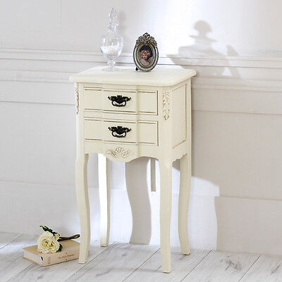 Cream two 2 drawer bedside table vintage chic shabby french style distressed