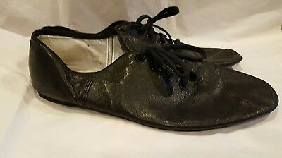 Womens Capezio Size 10.5 Black Leather Dance Jazz Shoes