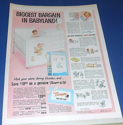 1955 THAYER Mother Goose & Lambkin Baby furniture crib/dresser Ad