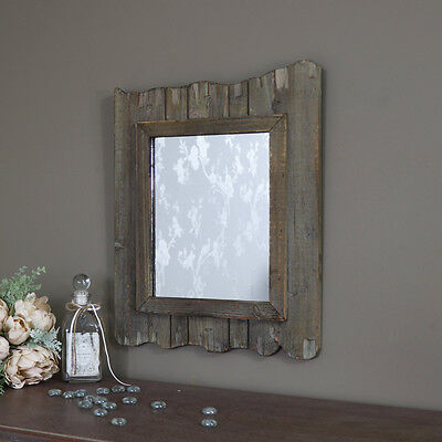 Wood wall mounted driftwood style wall mirror shabby rustic chic home bathroom