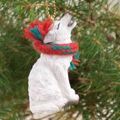 WHITE WOLF Ornament RESIN Painted Figurine statue NEW Christmas Holiday ANIMAL