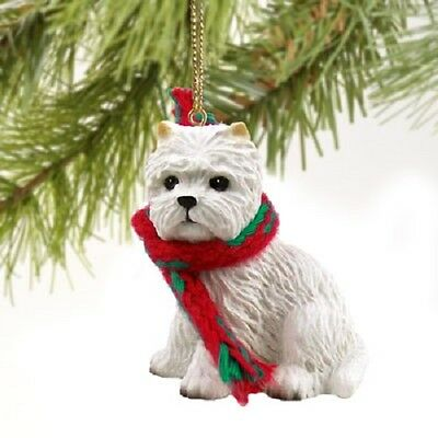 WESTIE dog HANDPAINTED ORNAMENT Resin Figurine CHRISTMAS West Highland Puppy NEW