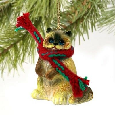 RAGDOLL CAT Ornament HAND PAINTED Resin Figurine CHRISTMAS Holiday kitty kitten