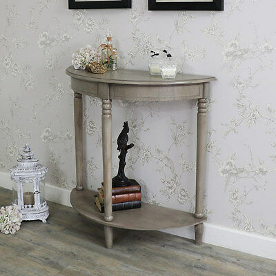 wooden taupe half moon console table bedroom hall way storhae lamp unit