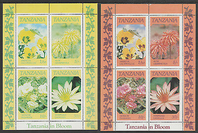 Tanzania 3457 - 1986 FLOWERS m/sheet RED OMITTED plus normal unmounted mint