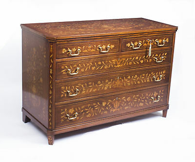 Antique Dutch Floral Marquetry Mahogany Chest  C.1900