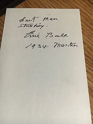 Errie Ball 1934 Masters Last Man Standing  Signed 3x5 index Card