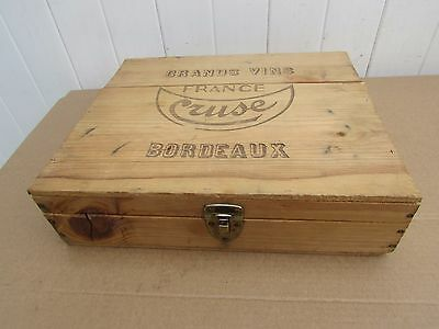 VINTAGE WINE CRATE Box CRUZ Bordeaux Nice Size Clean