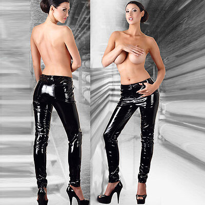 BLACK LEVEL Damen Lackhose Schwarz Stretchig Hauteng PVC Vinyl Pants CLUBWEAR